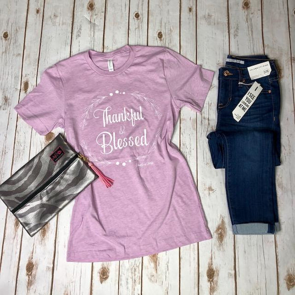 Graphic Tees - Thankful & Blessed Tee In Lilac