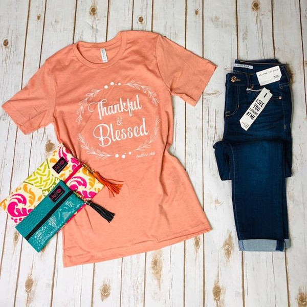 Graphic Tees - Thankful & Blessed Tee In Sunset