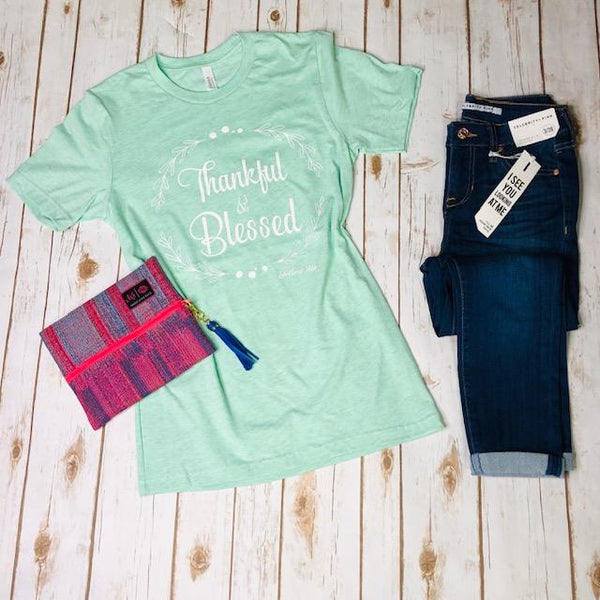 Graphic Tees - Thankful & Blessed Tee In Mint