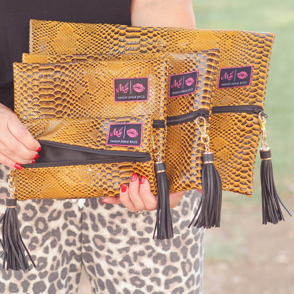 Makeup Junkie Bags in Mustard Cobra - Southern Mess Boutique