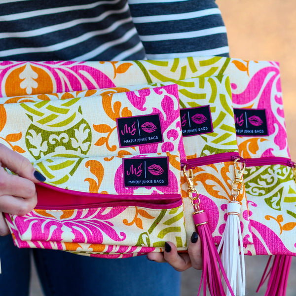 Makeup Junkie Bags in Citrus Floral - Southern Mess Boutique