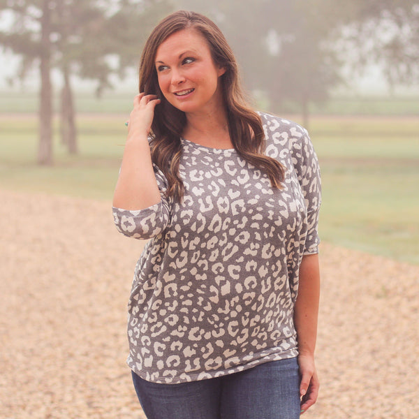 Woman's Tops - Ackerly 3/4 Sleeve Cheetah Print Dolman Top