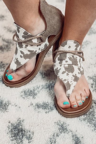 Shoes - Very G Angelika Sandals In Tan Cream Cow Print