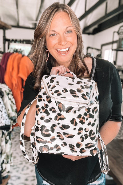 Totes, Purses, Bags - Backpacker Mini Backpack In White Leopard