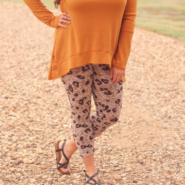 Bottoms - Balcones Heights Capri Leggings In Leopard