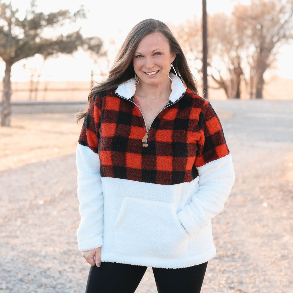 Woman's Tops - Bella Buffalo Plaid Kangeroo Sherpa Pullover