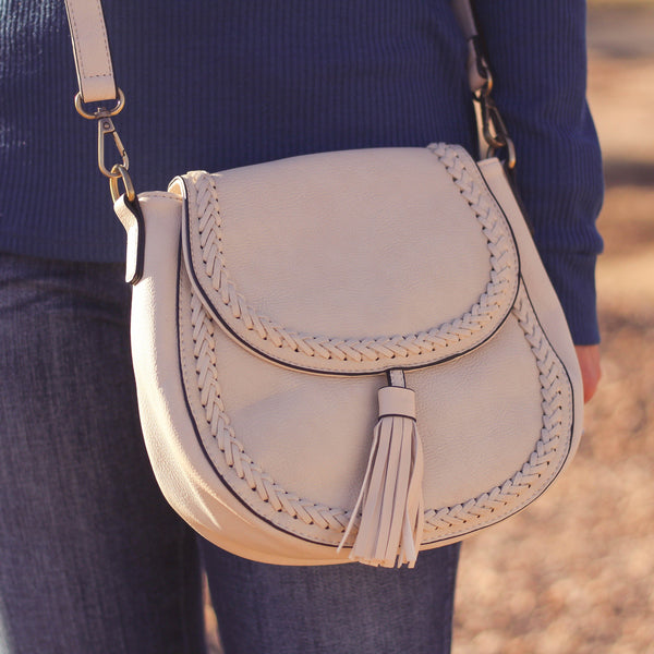 Totes, Purses, Bags - Bliss Front Tassel Saddle Bag In Cream