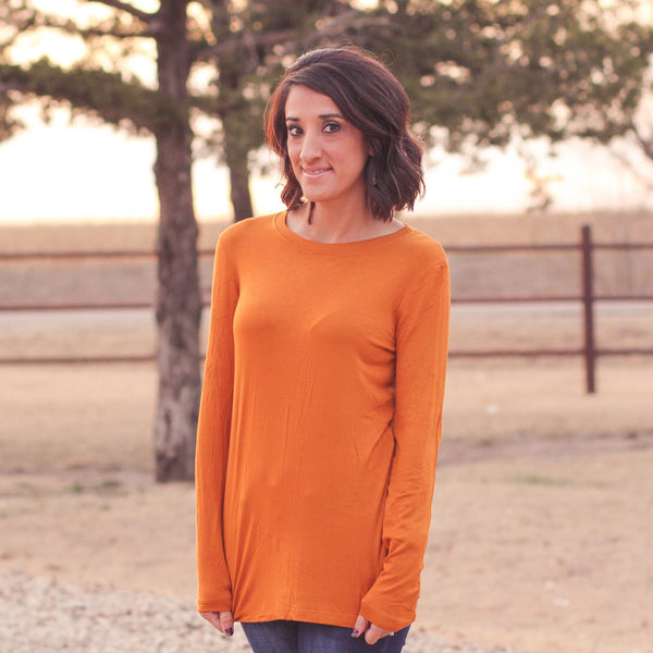 Bryson Relaxed fit Long Sleeve Top in Mustard - Southern Mess Boutique