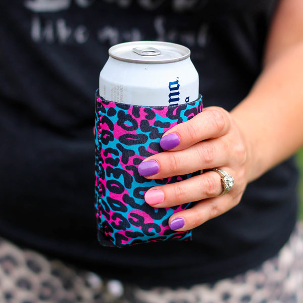 Can Cooler - Blue Leopard Can Cooler