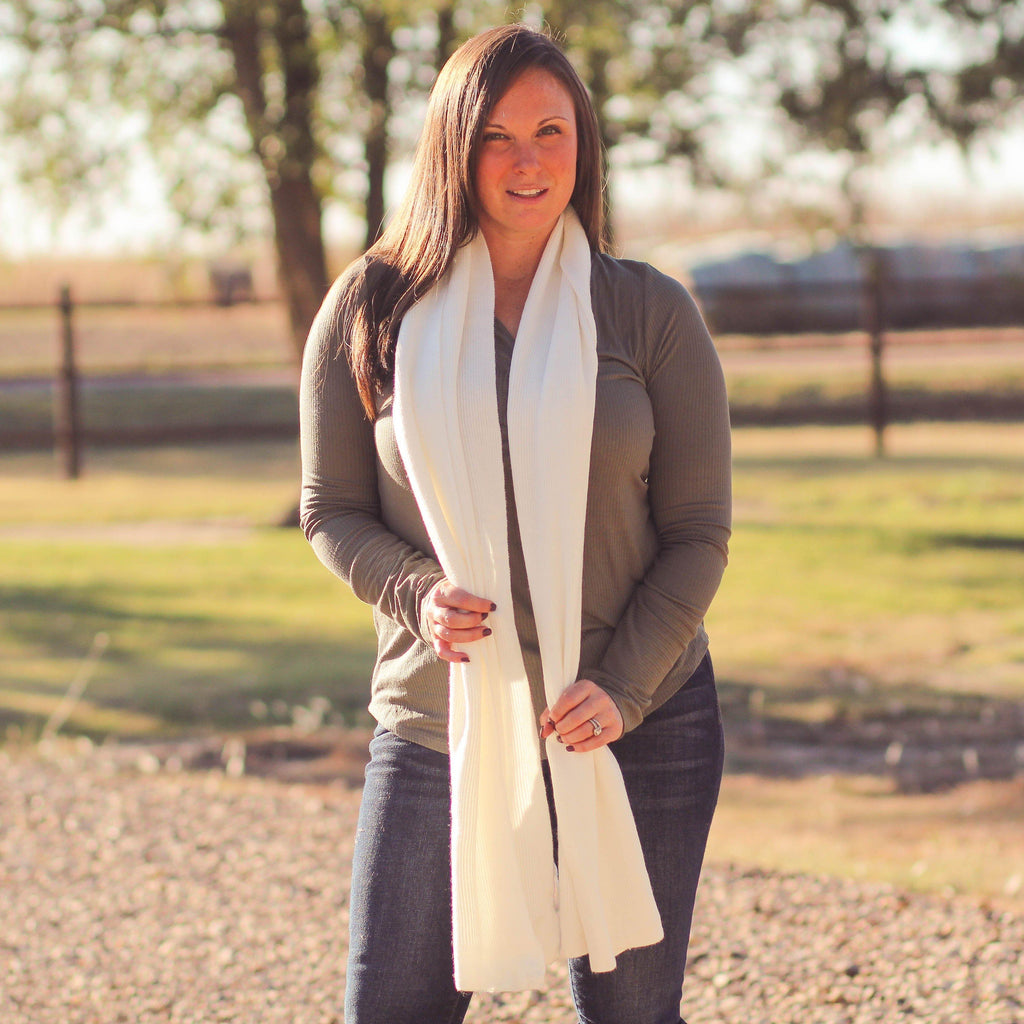 Scarves - Solid Ribbed CC Scarf In Ivory