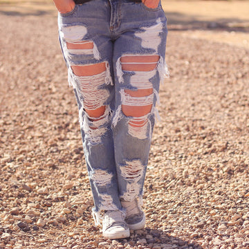 Cello Super Distressed Boyfriend Jeans