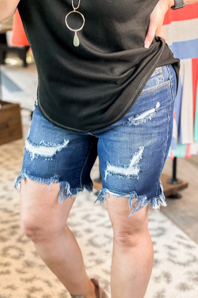 Bottoms - Cello Not Your Mama's Distressd Frayed Jean Shorts