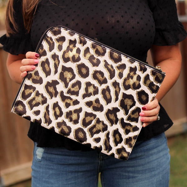 Totes, Purses, Bags - Adele Clutch/Laptop Sleeve In Metallic Leopard