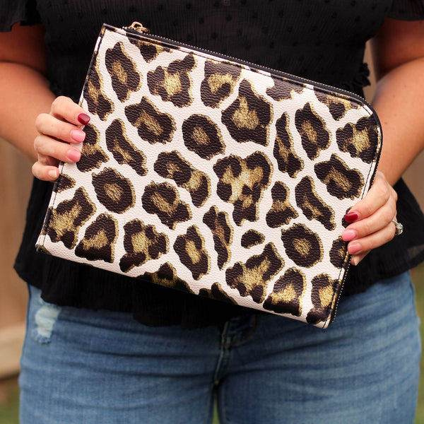 Totes, Purses, Bags - Gwen Clutch/Tablet Sleeve In Metallic Leopard