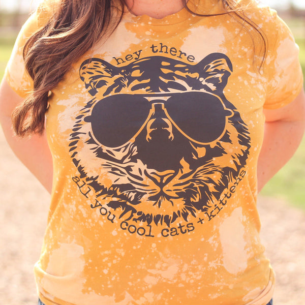 Graphic Tees - Cool Cat Bleached Mustard Unisex Fit Graphic Tee