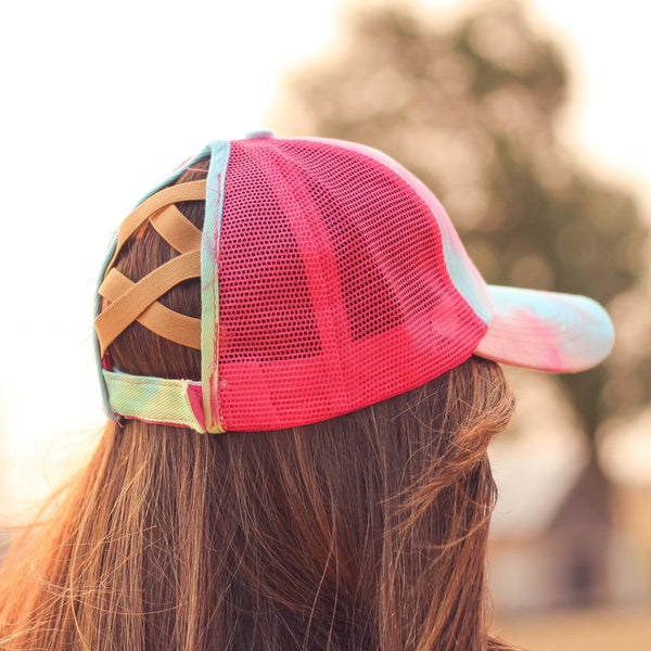 Hats - Criss Cross Ponytail Baseball Cap In Tie Dye