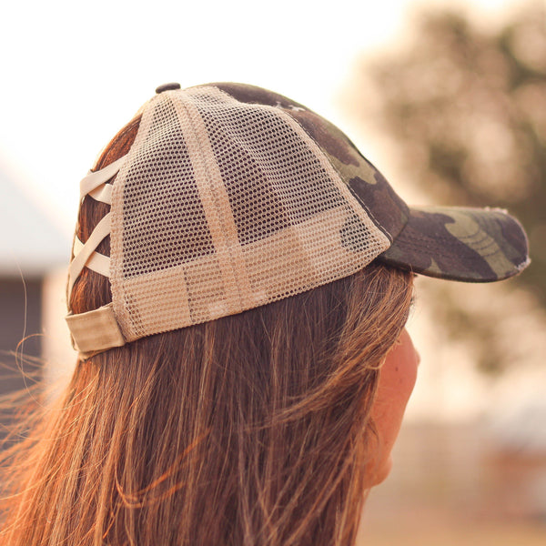 Hats - Criss Cross Ponytail Baseball Cap In Camo