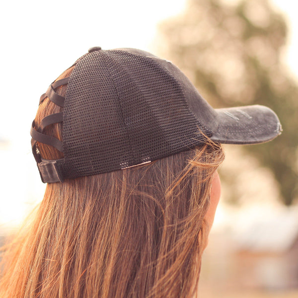 Hats - Criss Cross Ponytail Baseball Cap In Black