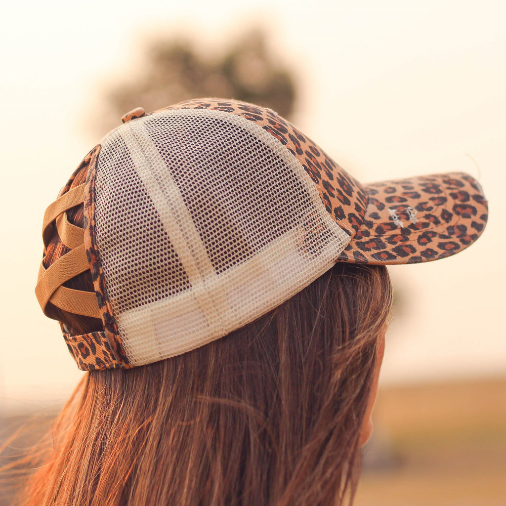 Hats - Criss Cross Ponytail Baseball Cap In Leopard