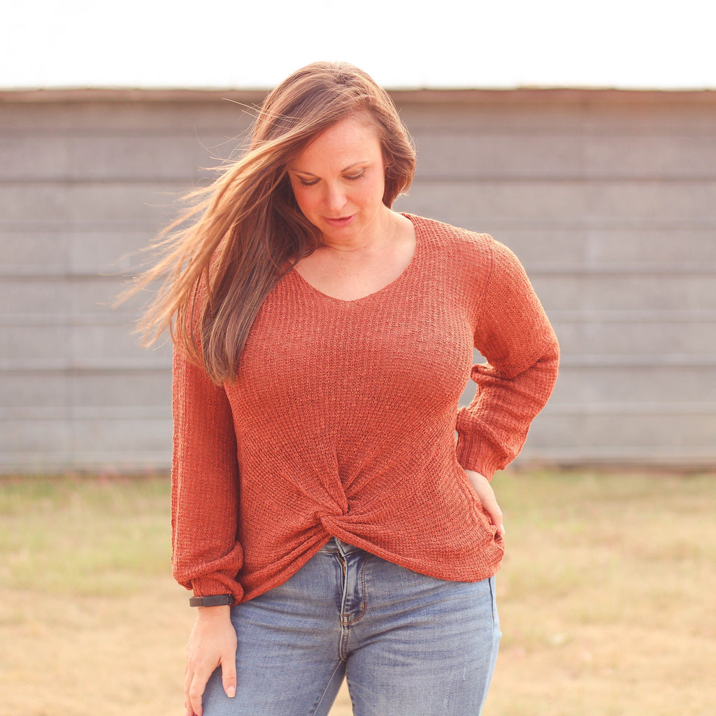 Woman's Tops - Dalhart Twist Front Sweater In Rust