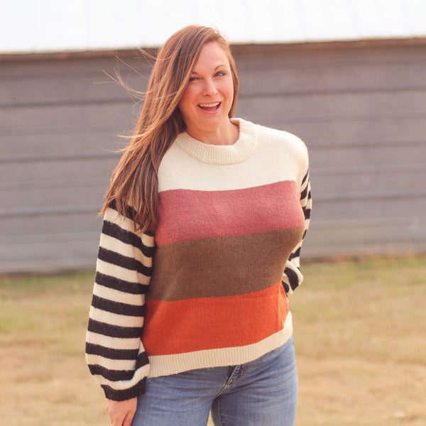 Woman's Tops - Dallas Balloon Sleeve Colorblock Sweater