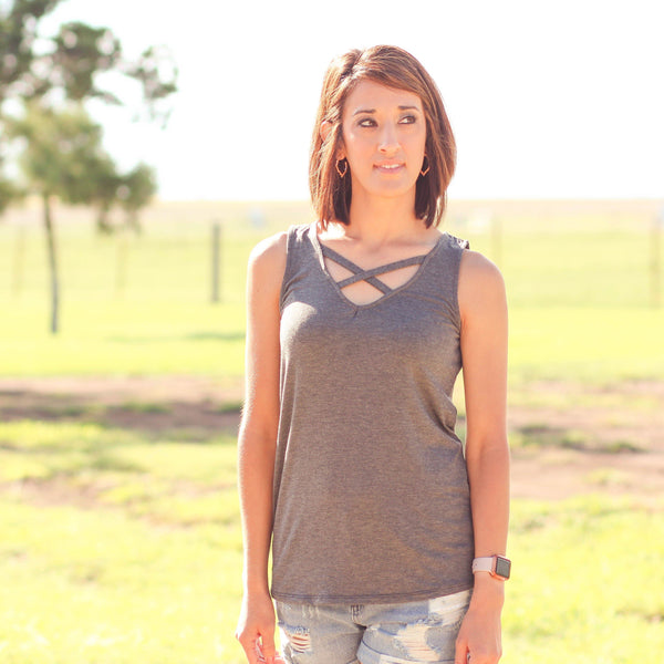Deport Criss Cross Solid Tank in Charcoal - Southern Mess Boutique