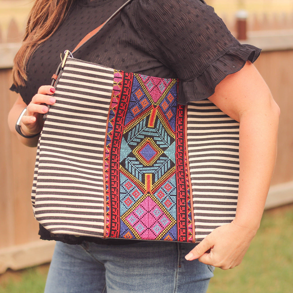 Totes, Purses, Bags - Ember Embroidered Aztec Hobo Bag