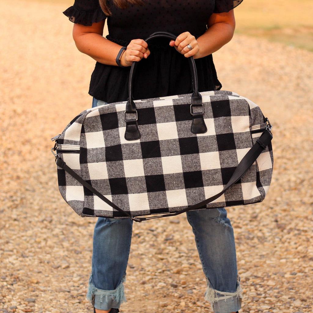 Totes, Purses, Bags - Florence Duffel Weekender Bag In White Plaid