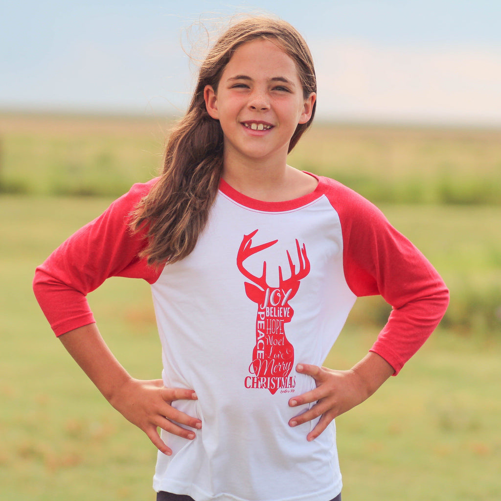 Youth Christmas Reindeer Raglan - Southern Mess Boutique