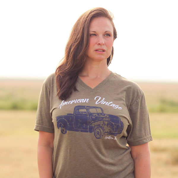 American Vintage Tee Olive - Southern Mess Boutique