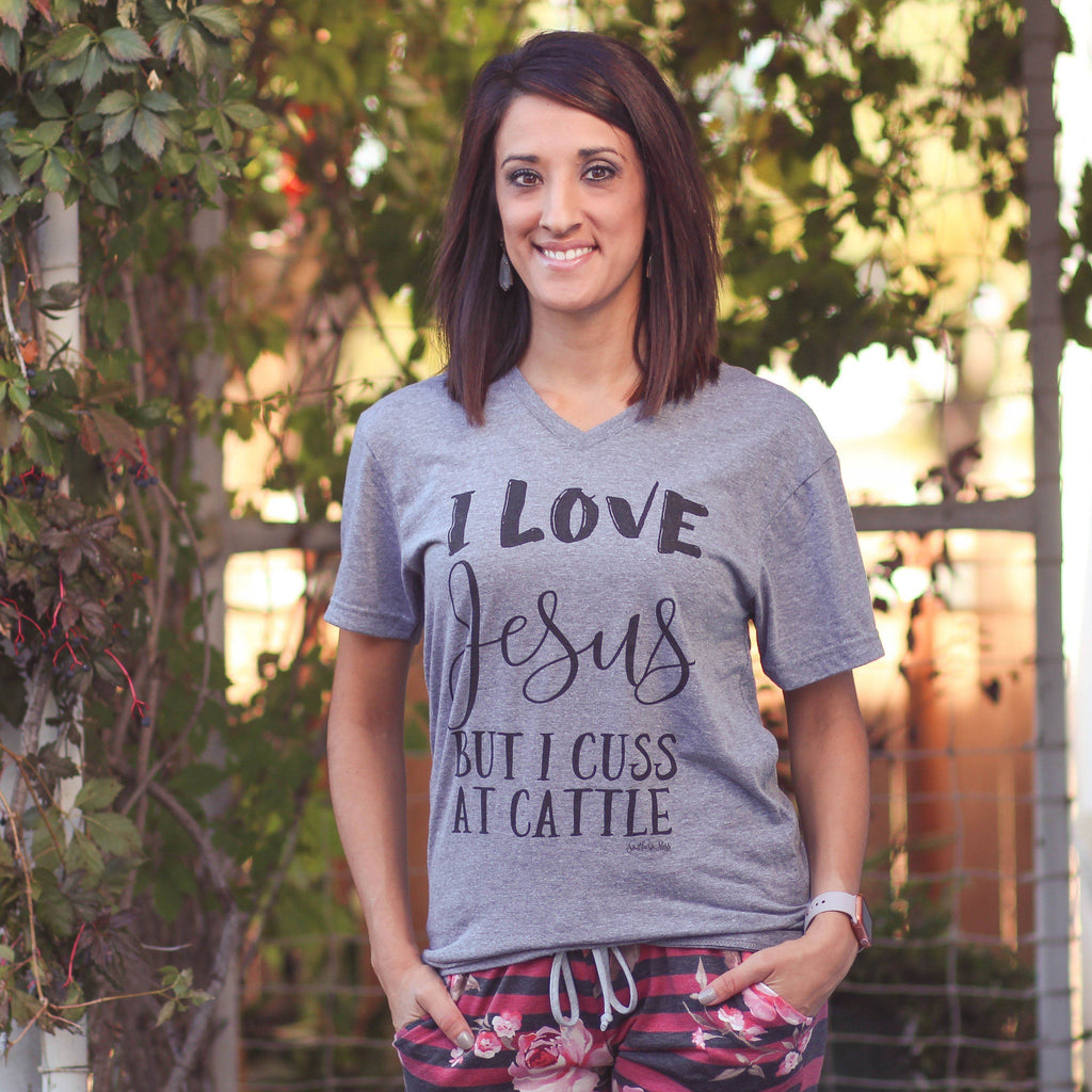 Grey Cuss At Cattle Tee - Southern Mess Boutique