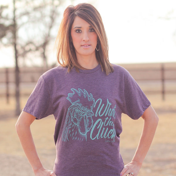 Graphic Tees - What The Cluck Unisex Fit Tee In Vintage Purple