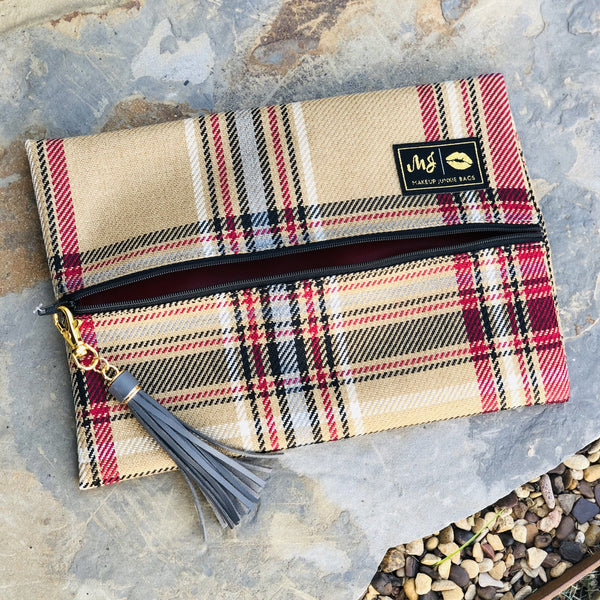 Makeup Junkie - Makeup Junkie Gold Label Bags In Plaid