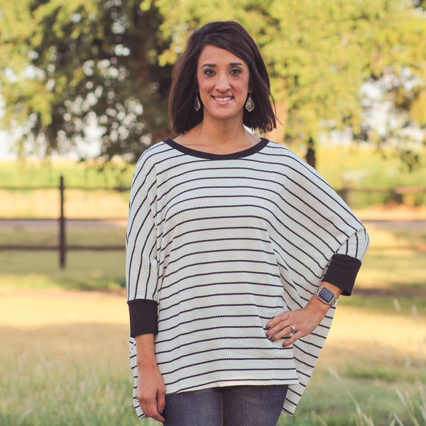 Woman's Tops - Jarrell 3/4 Sleeve Boatneck Striped Top