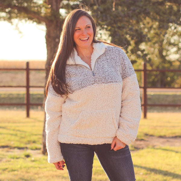 Keene Sherpa Pullover in Grey - Southern Mess Boutique