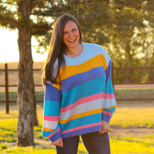 Woman's Tops - Kemah Bright Striped Sweater