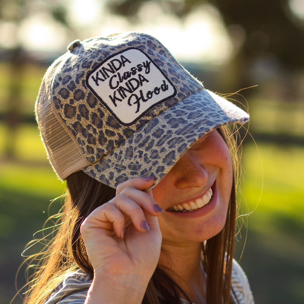 Kinda Classy Kinda Hood Trucker Hat in Cheetah - Southern Mess Boutique