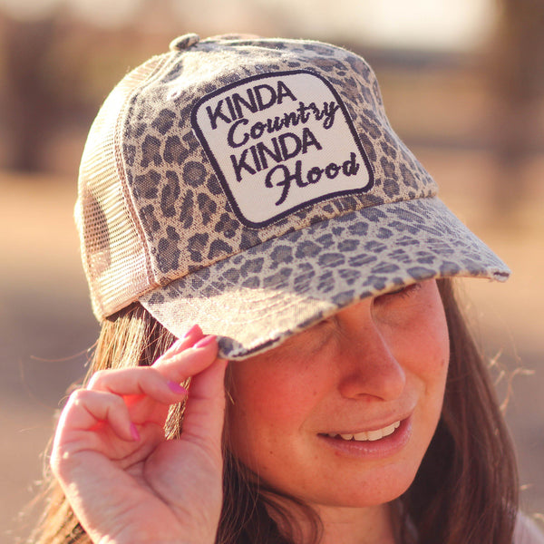 Kinda Country Kinda Hood Trucker Hat in Cheetah - Southern Mess Boutique