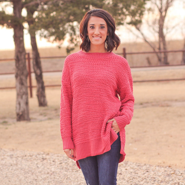 La Grange Popcorn Sweater in Rose - Southern Mess Boutique
