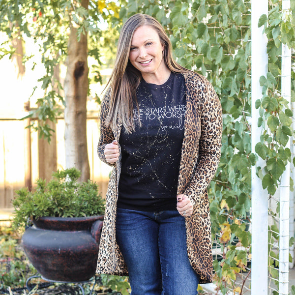 Layers - Mallow Open Cardigan In Leopard