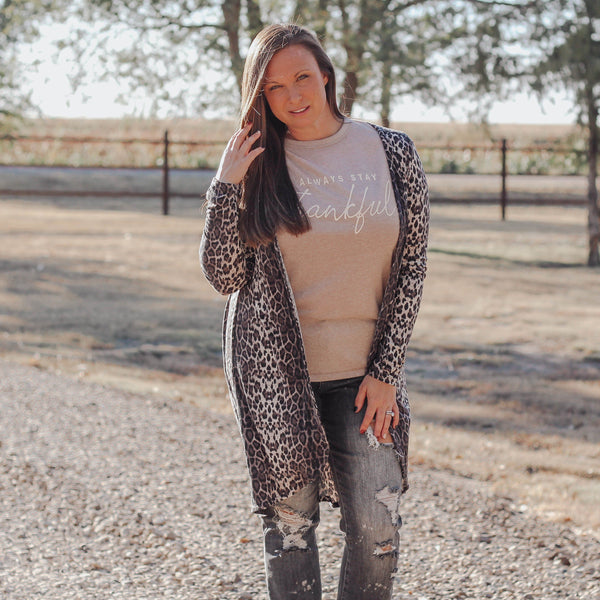 Layers - Mallow Open Cardigan In Snow Leopard