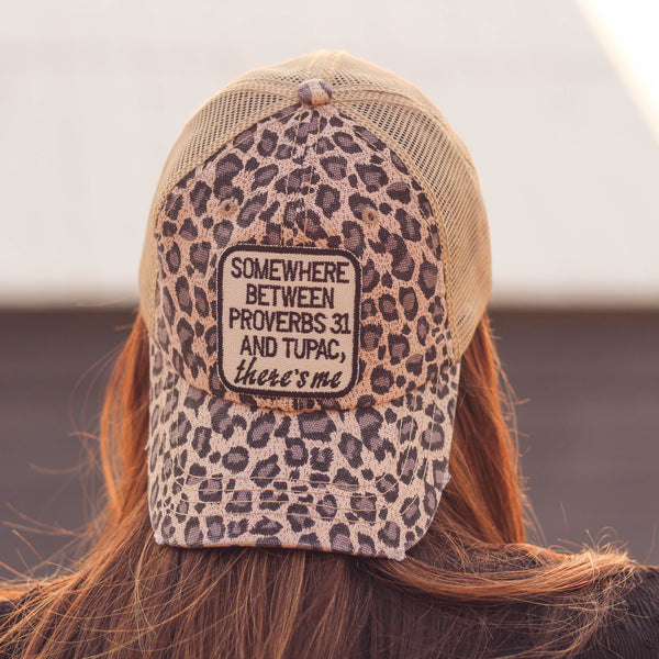 Hats - Proverbs 31 & Tupac Trucker Hat In Distressed Cheetah