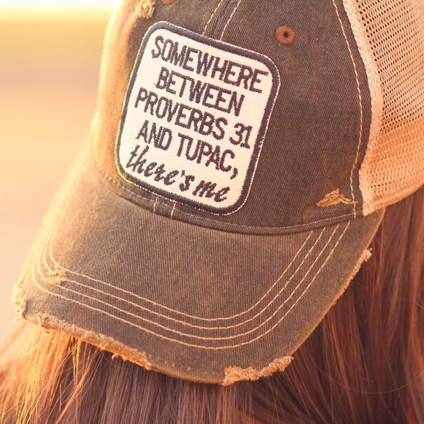 Proverbs 31 & Tupac Trucker Hat in Distressed Black - Southern Mess Boutique