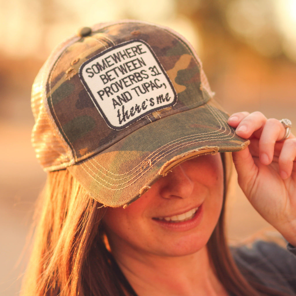 Proverbs 31 & Tupac Trucker Hat in Distressed Camo - Southern Mess Boutique