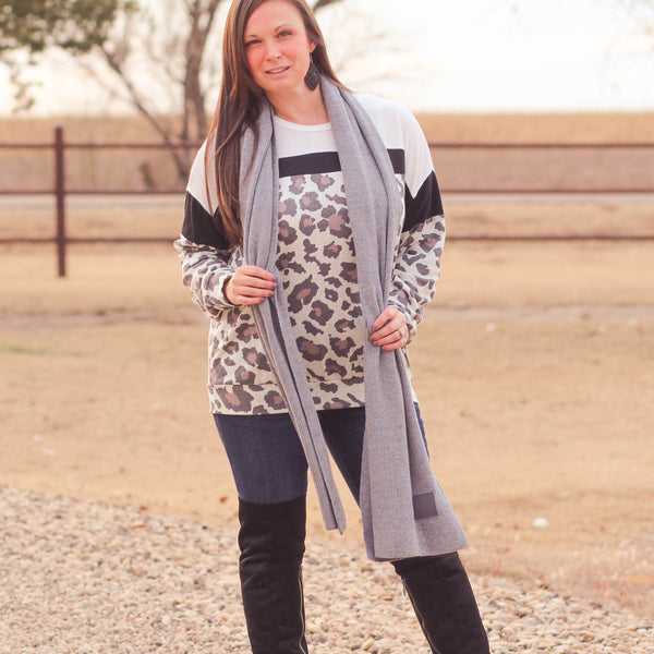 Solid Ribbed CC Scarf in Heather Grey - Southern Mess Boutique