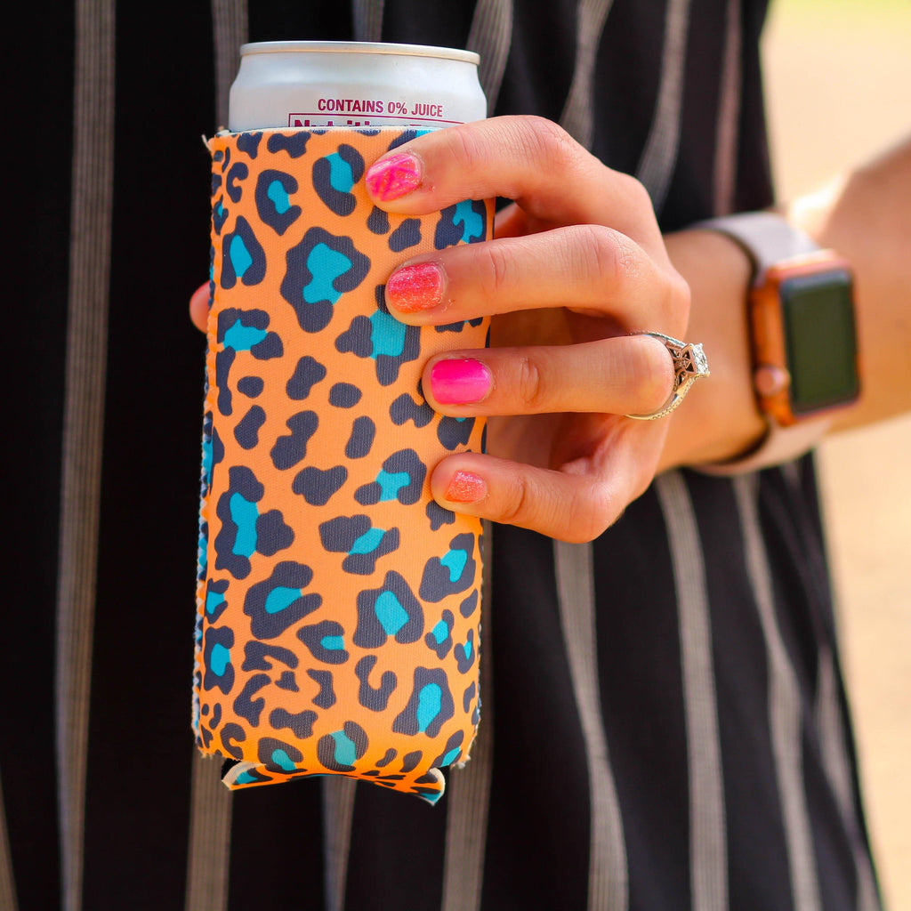 Can Cooler - Slim Can Cooler In Orange Leopard