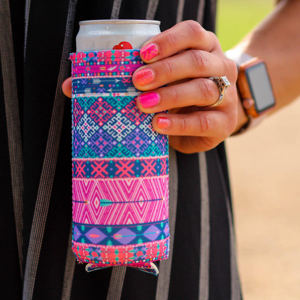 Can Cooler - Slim Can Cooler In Purple Arrows