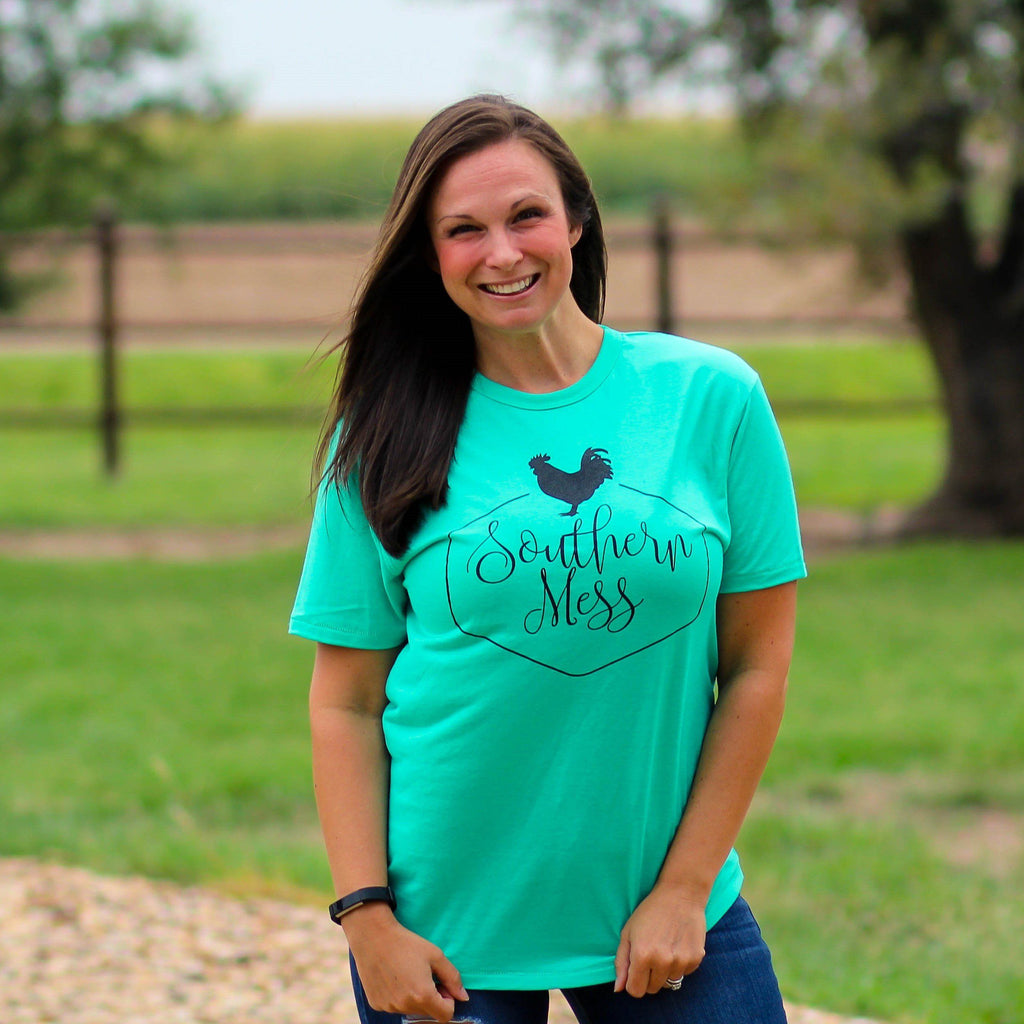 Southern Mess Logo Tee in Teal - Southern Mess Boutique