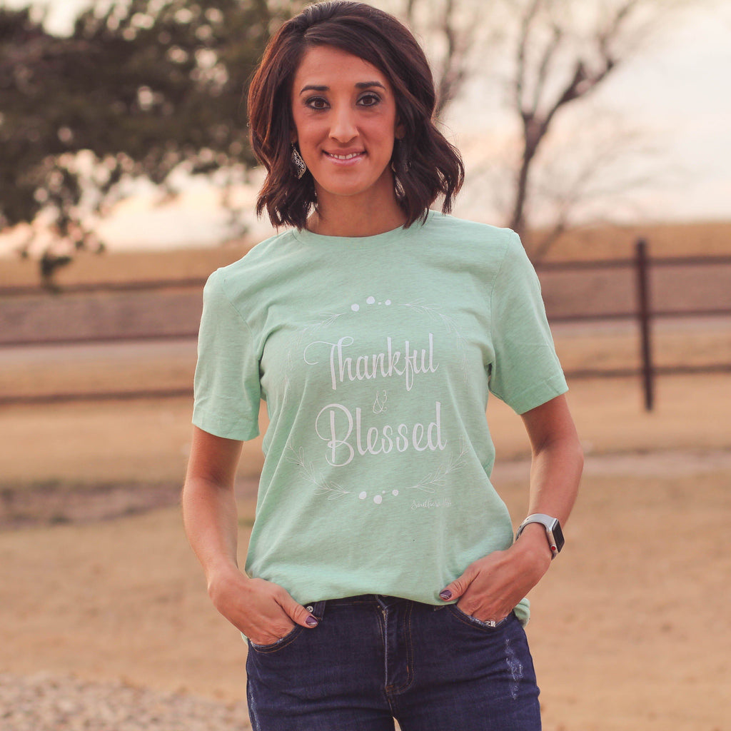 Thankful & Blessed Tee in Mint - Southern Mess Boutique