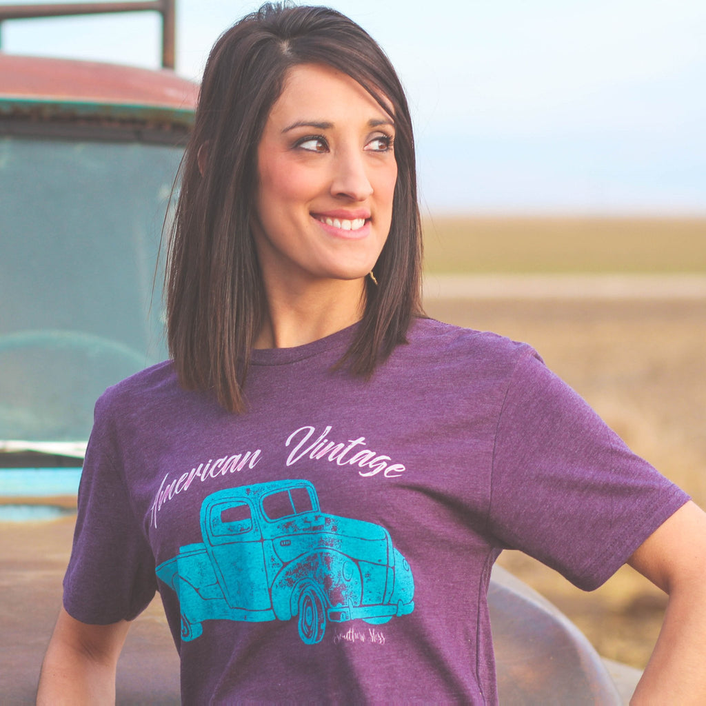 American Vintage Tee Purple - Southern Mess Boutique